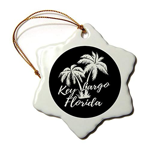 Christmas Ornaments, Key Largo Florida Palm Trees Beach Porcelain Snowflake Ornament Tree Hanging Decor Gift for Families Friends,3 Inch