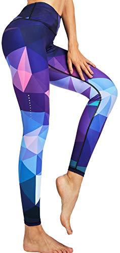 COOLOMG Damen Sport Leggings Laufhose mit Taschen Yogahose Kompressionshose Gemustert Geometrie_lila S