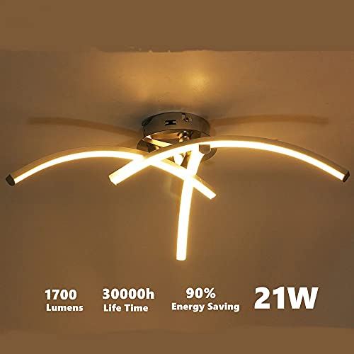 DAXGD Lámpara de Techo LED, 21W Plafon Techo Led 220V luz blanca cálida LED iluminación de techo, superficie en forma de horquilla para salón, dormitorio, escalera