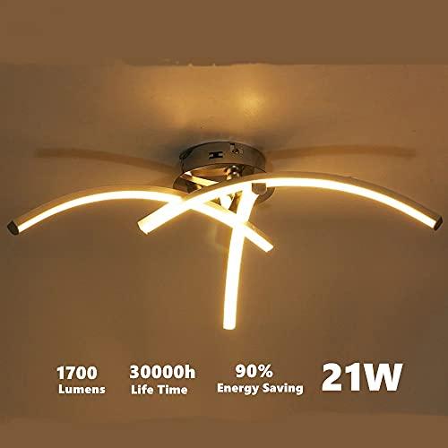 DAXGD LED Lampade da soffitto, 21W Plafoniera a LED moderna a superficie a forma di forcella per soggiorno Camera da letto Scala Plafoniere 220V, 3500K Luce bianca calda