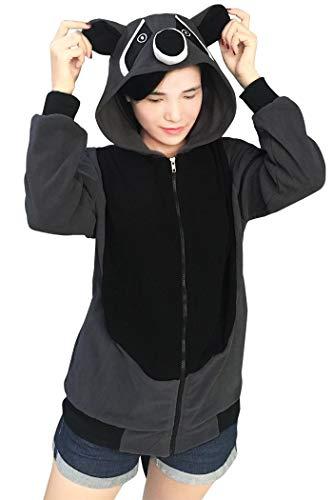 Lifeye Adult Raccoon Hoodie Animal Cosplay Costume Gray