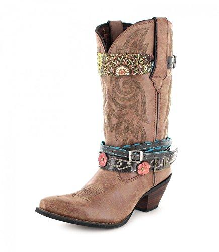 Durango Boots Damen Cowboy Stiefel DCRD145 ACCESSORIZE Lederstiefel Westernstiefel Braun 36 EU