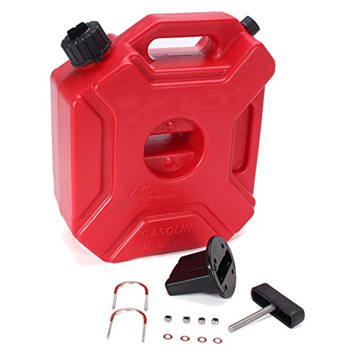 GEEKEN 5L Plastic Jerry Cans Gas Fuel Tank SUV Motorcycle + Mounting Kit