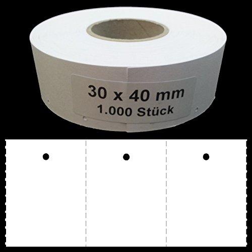 1.000 Endlosetiketten 30x40mm blanko Kartonetiketten mit 3mm Lochung auf Rolle Preisetiketten Hängeetiketten Etiketten