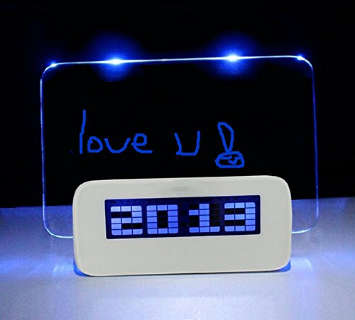 Esamconn Multifunction Fluorescent Message Notice Board LED Digital Alarm Clock Snooze Calendar Timer Temperature +Highlighter