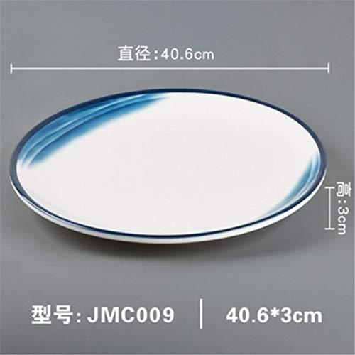 Yqs Vajilla La melamina Mar Azul Blanco Vajilla Phnom Penh Geometría Vajilla Plato de cerámica de Porcelana vajilla Postre Plato Pastel (Color : 40.6x3)