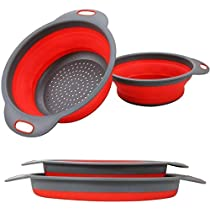 sakoraware Silicone (Set of 2) Folding Rice Strainer Bowl For Kitchen, Collapsible Colander, Fruits Vegetables Washing Basket with 2 Sizes 7.5″ and 8.5″, Random Color, Round