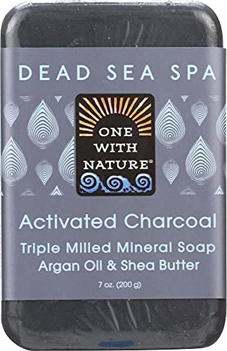 One With Nature – Activated Charcoal Triple Milled Mineral Soap Argan Oil & Shea Butter – 7 oz.