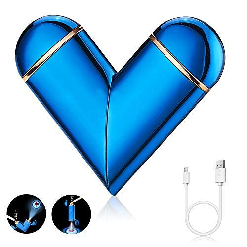 DASIAUTOEM Encendedor Electrico, Mechero Eléctrico para Hombres USB Recargable con Pantalla Táctil y I Love You Proyección, Encendedor Cocina Arco Eléctricos Plegables Encendedor, Regalos para