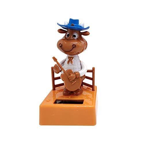 shyyymaoyi Creative Lovely Solar Power Schwingende Gitarre Kalb Puppe Modell Auto Armaturenbrett Ornament Home Office Decor Geschenk, ABS, Mehrfarbig