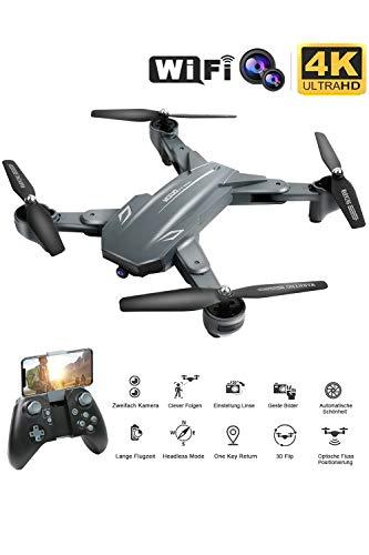 Flashbee F89 4K Drohne mit Kamera für Erwachsene,Follow Me,WiFi Live Video,One Key Return,Lange Flugzeit,Position des optischen Flusses,Gestenfoto,3D Flips,Faltbarer RC Quadcopter für Anfänger