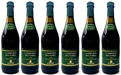 Lambrusco rosso dolce Gualtieri Dell`Emilia IGT (6 X 0,75 L) - Vino Frizzante - Roter Süßer Perlwein 7,5% Vol. aus Italien