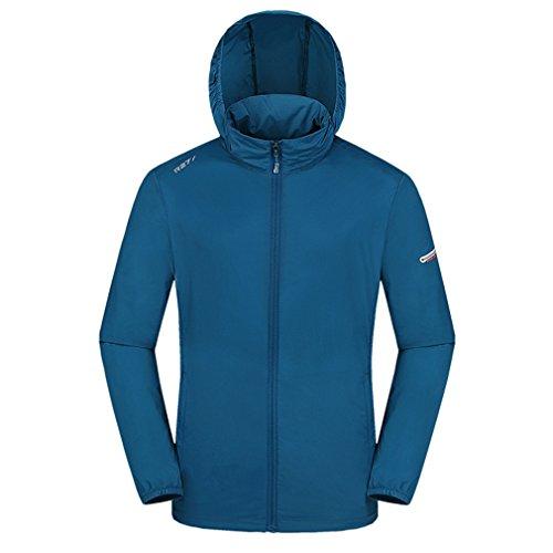 emansmoer Hommes Coupe-Vent Crème Solaire Anti-UV Veste Outdoor Respirant Léger Zip Manteau Pluie Veste Sweat à Capuche (XL, Bleu)