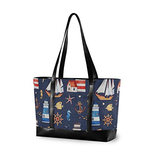 Colored Boat Lighthouse Wheel Anchor Laptop Tote Bag Womens 14,15,15.6 Inch Laptop Canvas Leather Computer Bag