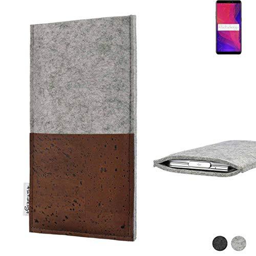 flat.design Handy Hülle Evora für Ulefone Power 3L maßgefertigte Handytasche Kork Filz Tasche Hülle fair