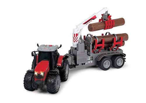 Dickie Toys Massey Ferguson Spielzeugtraktor mit Anhänger und 3 Holzstämmen, Holzgreifer, Trecker mit Anhänger, Typ 8737, Bauernhof Spielzeug, Licht & Sound, inkl. Batterien, 42 cm