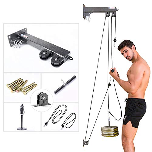 Riiai Wall Mounted Cable Machine DIY Home Gym Pulley Cable Attachments - Wall Multi-Gym With Screws And Fittings For Fitness Workout Tricep Blaster Arm Biceps Pull Rope Gym Wrist Roller Equipment