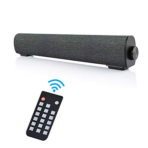 Portable Soundbar for TV/PC, Wired & Wireless Bluetooth 5.0 Stereo Speaker with Remote Control, 2X5W Mini Home Theater TV Sound bar with Built-in Subwoofers for Phones