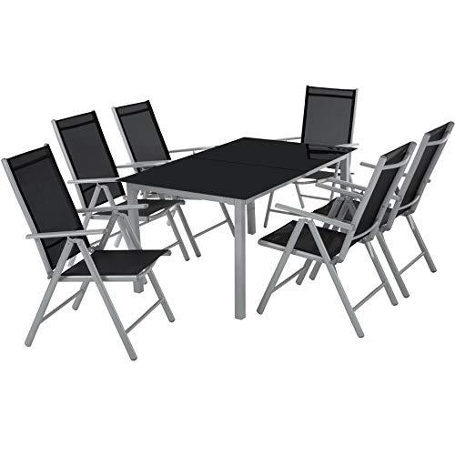 TecTake 800355 - Conjunto de Sillas de Aluminio 6+1, Juego de Muebles de Jardin, 6 Sillas Plegables 1 Mesa, Incl. 2 Tableros de Vidrio, (Gris Plateado | No. 402167)