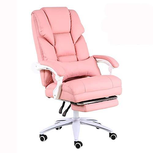 WSDSX Silla Oficina en casa Escritorio Silla Juego Silla Viva Diseño reclinable 170 ° Respaldo cómodo Silla Boss Peso del cojinete 200 kg 3 Colores Opcionales (Color: Rosa)