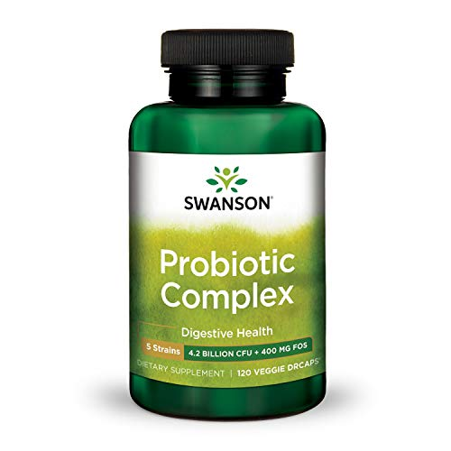 Swanson Probiotic Complex 4.2 Billion CFU 5-Strain Digestive Health Fat Metabolism Satiety Prebiotic FOS Complex Supplement 120 Veggie DRcaps