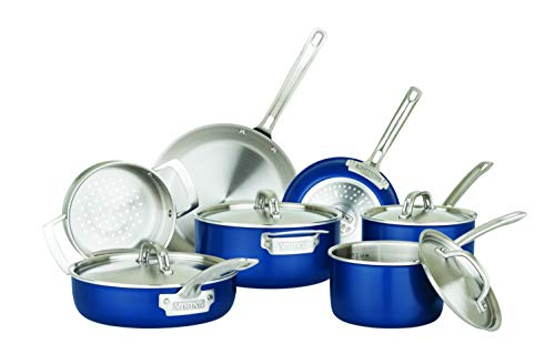 Viking Culinary 40041-9991-BLSC cookware Sets, Stainless Steel, Blue