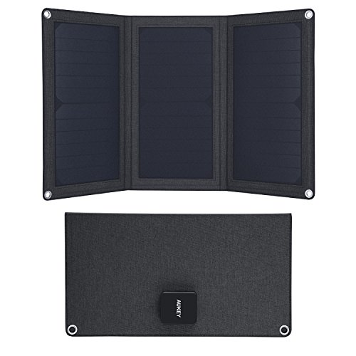 AUKEY PB-P25 Cargador Panel Solar 21W con 2 Puertos USB 5V 4A Max para Apple iPhone, Samsung, iPad,...