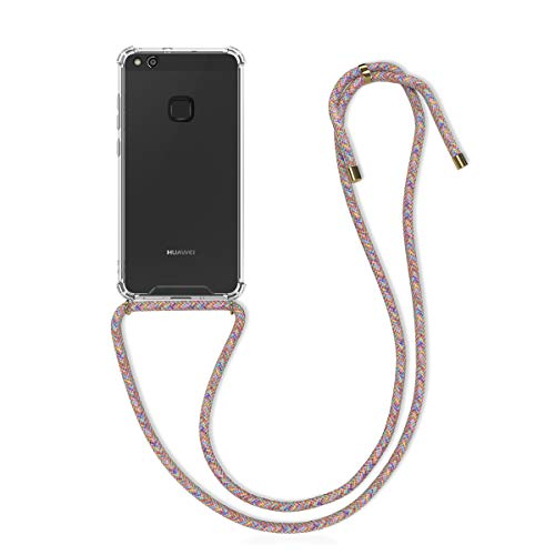 kwmobile Necklace Hülle kompatibel mit Huawei P10 Lite - Hülle Silikon mit Handykette - Band Handyhülle Mehrfarbig