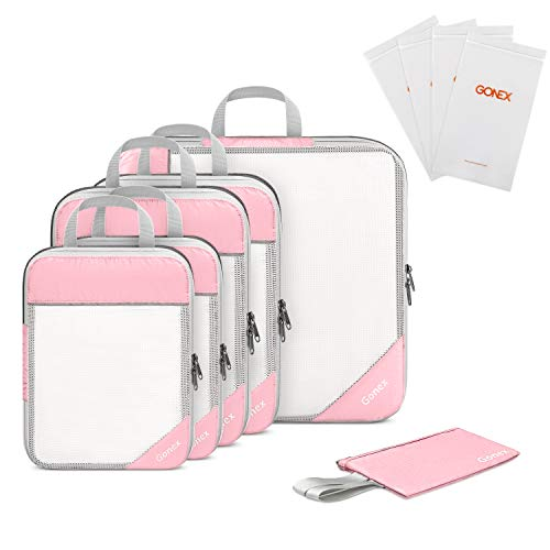 Gonex Compression Packing Cubes Mesh Travel Luggage Packing Organizers Zip Bags Pink
