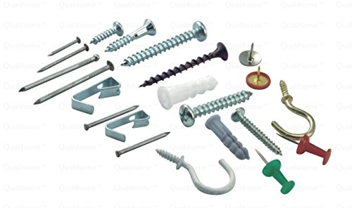 Qualihome Household Repair and Hanging Kit: Screws, Nails, Wall Anchors, Cup Hooks, Picture Hangers, Push Pins, and More