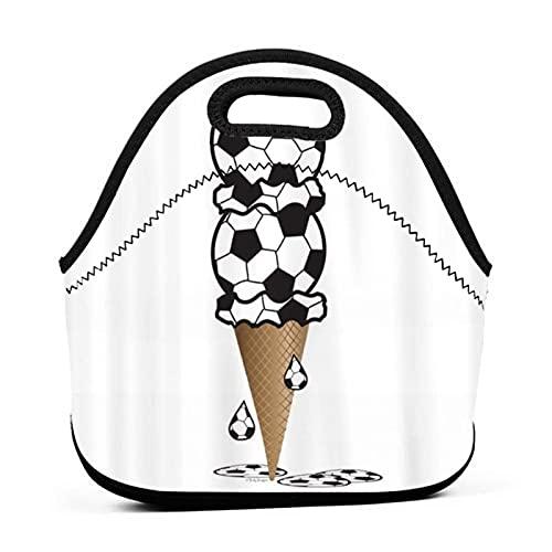 ADONINELP Bolsa de almuerzo Bolsa portátil para bento,cono de helado de fútbol,paquete de neopreno con cremallera para la escuela,el trabajo,la oficina,el bolso de viaje