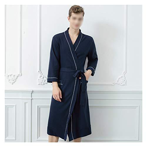 zyy Vestido para el hogar Robe de Dormir Primavera Autumn Albornoz Albornoz Delgado de Las Mujeres Agua de succión de Agua rápido Pijamas (Color : Navy Blue Male, Size : XL)