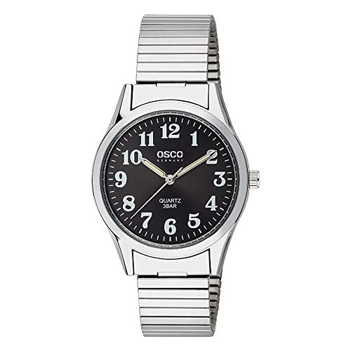 OSCO Klassik Herren Zugband-Uhr Edelstahl-Flexband 04648021