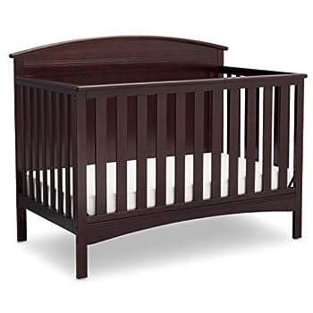 Delta Children Archer Solid Panel 4-in-1 Convertible Baby Crib Dark Chocolate