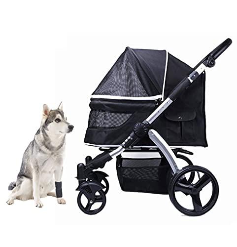 KLLKR Cochecito Mascotas Perros Gatos Carrito Ruedas Giran 360º Mediano Mascotas Carro de Viaje Plegable Ajustable Altura del reposabrazos Grandes neumáticos con toldo(Color:Black)