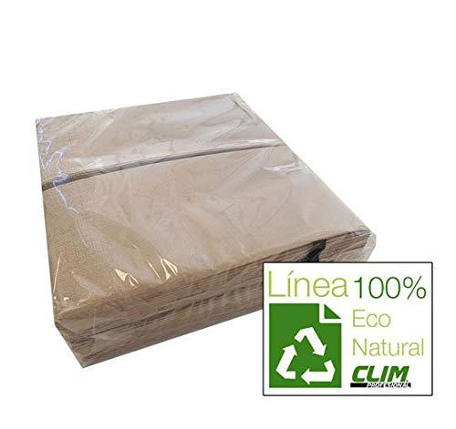Servilletas ecológicas. Línea Eco Natural de papel 100% reciclado. 40x40cm. Caja 2400 uds. Especial para bares, restaurantes, hostelería y ámbito profesional