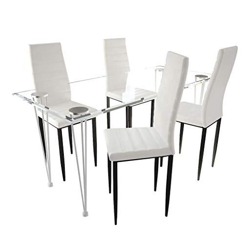 vidaXL Set 4 sedie tavola Sala Salotto Bianche Linea Sottile con 1 Tavolo Vetro