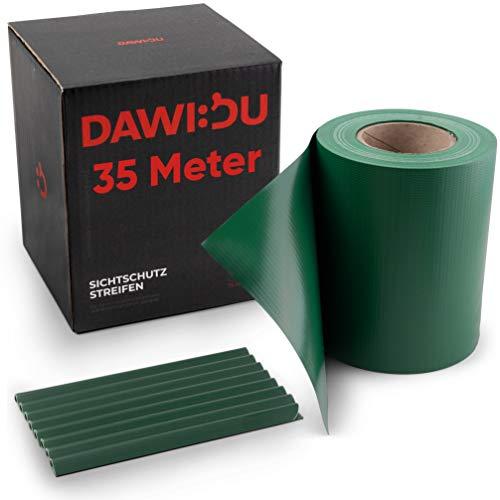 DAWIDU Zaun Sichtschutzstreifen für Doppelstabmatten TÜV geprüft - 35m x 19cm + 26 Clips - Premium Wind- & Sichtschutz Gartenzaun Grün - Einfache Montage & langlebiger Schutz