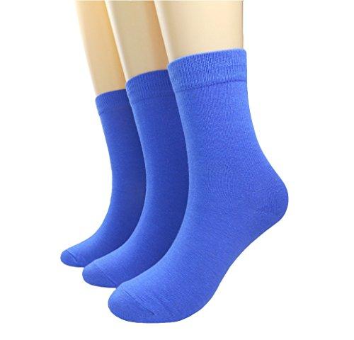 Fantastic Cos Damen süßigkeit-farben-comfort baumwolle gestrickte socken-mannschaft Royal Blau/ 3 Pack 4