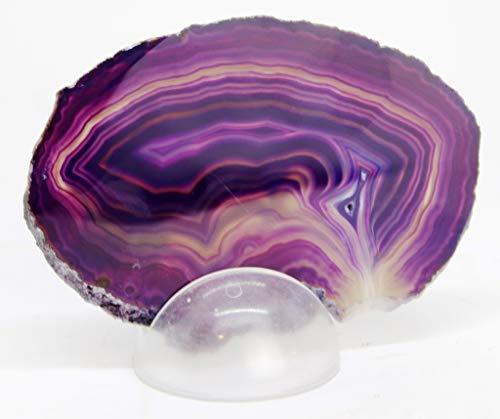 Agata Mineral Import Lámina de una Geoda de Ágata - Preciosa Geoda de Las Minas del Brasil - Medidas Aprox. : Peso 150 g/Diámetro: 10 cm - Color: Lila/Morado