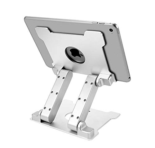 KABCON Quality Tablet Stand,Adjustable Foldable Eye-Level Aluminum Solid Up to 15-in Tablets Holder for Microsoft Surface Series Tablets,iPad Series,Samsung Galaxy Tabs,Amazon Kindle Fire,Etc.Silver