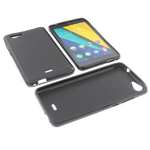 foto-kontor Tasche für Wiko Pulp Fab 4G Gummi TPU Schutz Hülle Handytasche schwarz
