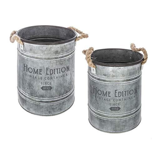 Atmosphera - Lot de 2 Seau en métal Gris Vintage