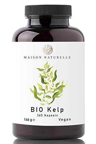 MAISON NATURELLE® - Bio Kelp Kapseln (365 Stück) - 200μg JOD je Kapsel - Kelp Braunalgen Kelp Vegan Jod Kelp Organic Kelp Kelpalge Jod Algen Kapseln