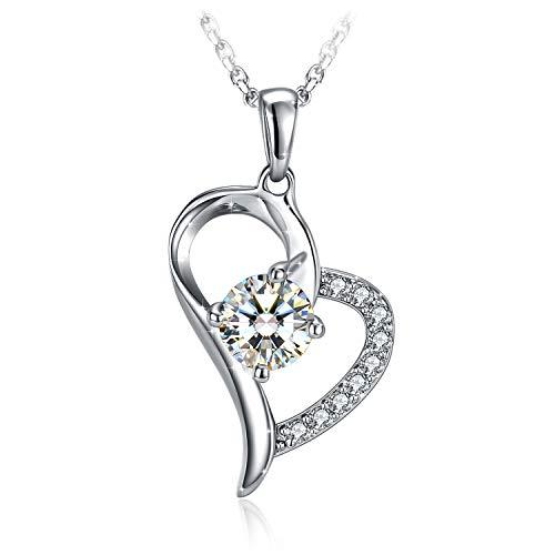 Collana Argento 925 Donna, Il Mio Destino Cuore Collana con Zirconi Cubici , Elegante Portagioie, Regalo di Natale per Lei