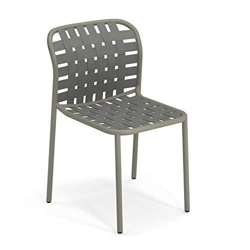 emu Yard tuinstoel, grijsgroen zitting elastische riemen grijsgroen BxHxD 51x81x57cm frame grijsgroen