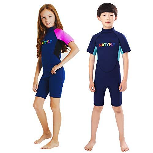 NATYFLY Kids Wetsuit Premium 2mm Neoprene Short Sleeve Youth Shorty Wetsuit for Girls Boys Child (Pink, Medium)