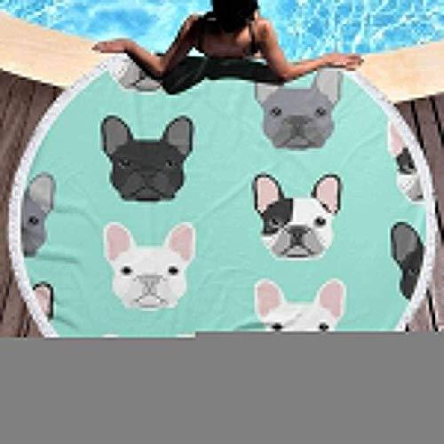 Duanrest Manta de Toalla de Playa Bulldog francés Perro Cachorro Perro Extra Grande Manta de baño de Viaje al Aire Libre Estera de Yoga Adultos