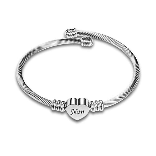 KunBead Jewelry Nan Nana Bracelet Birthday Gift from Granddaughter Bangle Love Heart Bracelets Cheap
