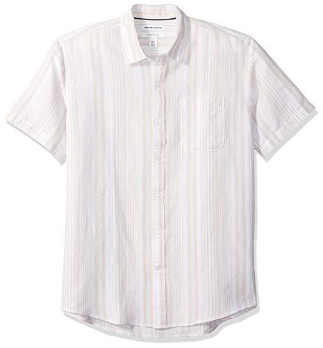 Amazon Essentials - Camisa a cuadros de lino con manga corta para hombre., Raya natural, US M (EU M)